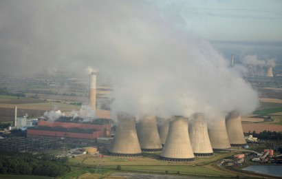 Aerial of cooling towers of the Cotham power station
